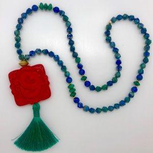 Lady Daisy cinnabar, lapis & Jade tassel necklace